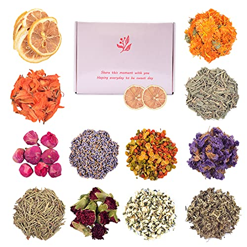 Dried Flowers, 12 Bags Natural Dried Flower Herbs Kit for Soap Making, Bath, Bombs, Candle, DIY Resin Craft Supplies Decorations, Include Lily Lavender, Lemon Slice and More