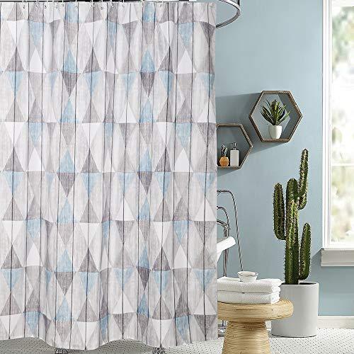 i@HOME Duschvorhang Anti-Schimmel Wasserabweisend Waschbar Anti-Bakteriell Duschvorhäng aus Polyester Badvorhang(Blaugraues Dreieck,180x200cm)