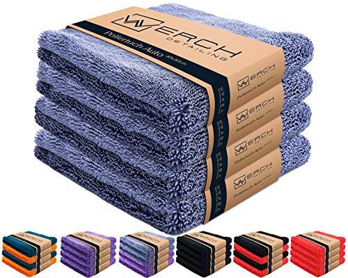 WERCH® 4X randloses Microfasertuch für Autopflege - Ultraweich und Lackschonend Dank 400 GSM - Mikrofasertücher für Auto Politur - 40x40 cm Poliertuch für Autolack (Blau)