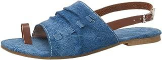 FANIMILA Women's Casual Flats Sandals Summer Toe Ring Shoes Slingback