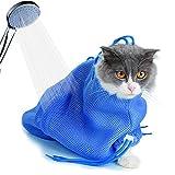 Kbnian 50 * 35cm Bolsa de Aseo para Gato en Malla Bolsa de Sujeción Ajustable Respirable Anti-mordida Anti-arañazos para Cuidado de Las Uñas Baños Limpieza del Oído Tratamiento Veterinario Dental
