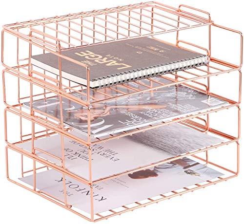 Bandeja para cartas apilable, bandeja organizadora de papel de 4 niveles, estante clasificador de archivos de escritorio de alambre para correo, revistas, documentos y libros