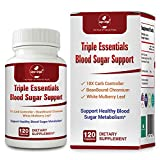 Triple Essentials Blood Sugar Support - Post-Meal Blood Sugar Health with Max Bloc Carb Controller, Chromium, White Mulberry Extract - 120 Cap.