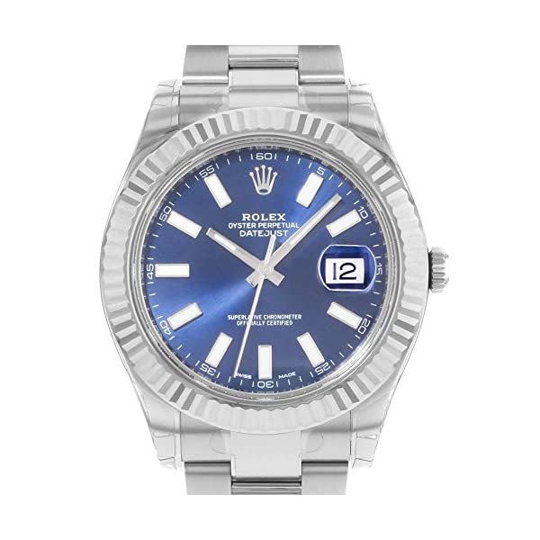 Fashion Shopping NEW Rolex Datejust II Stainless Steel and 18K White Gold Blue Dial Mens watch 116334