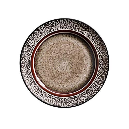 DLYDSSZZ Ceramica Creativa da tavola, Europeo Set Bowl, Retro Occidentale Piatto Cucinare Piatto Piano zuppiera (Color : #Big Plate)