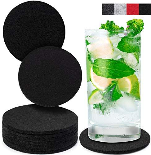 Miqio® Design Glasuntersetzer - Waschbar - 10er Set Getränke Untersetzer (schwarz)