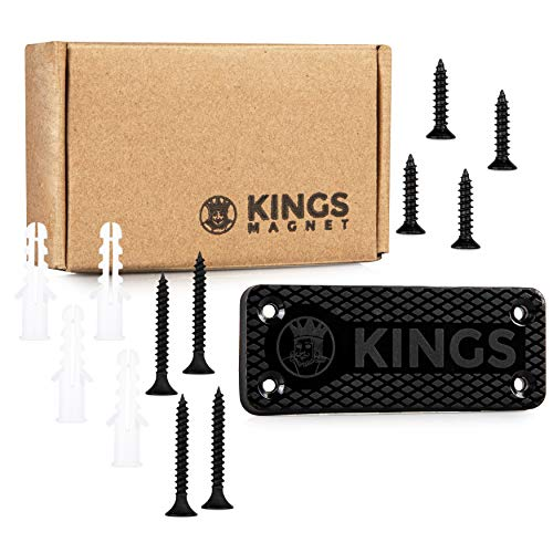 KINGS MAGNET Magnetic Gun Mount: 43 lb Rated Gun Magnet Mount - Magnetic Holster for Handgun, Pistol, Rifle, Revolver, Shotgun - Concealed Gun Holder for Car, Truck, Desk, Wall, Safe, Bedside 1 Pack
