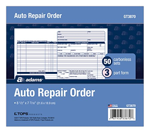 Adams Auto Repair Order Forms, 8...