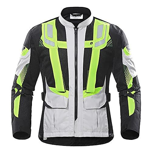 ZDSKSH Cuatro Estaciones Chaqueta De Moto Hombre Motocicleta Armadura De Equipo De Protección, Textil Impermeable, Reflexión De Alto Brillo