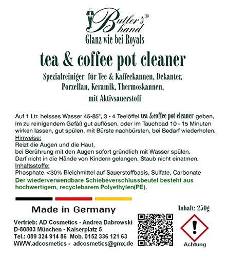 Teiera Caffettiera, pulizia, Detergente, Tea & Coffee Pot Cleaner, Detergente in porcellana con ossigeno attivo 250G, anche per caraffe caffè, Pump caraffe, Thermos per Bibite, Decanter, uova e tè Siebe ideale