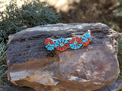 Signed Native American Hand Made Jewelry Southwest Artisans Turquoise Flower Sterling Silver Vintage Navajo Cuff Bracelet
