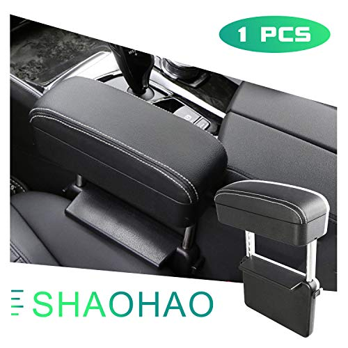 Universal Car Armrest Pad, Armrest Cushion Compatible with Tesla Model Y,Rest Your Arm and Wrist,Helpful for Long Highway Drives. (Black Leather of White line)
