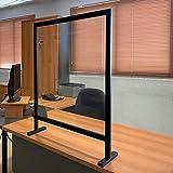 Mampara Protector Mostrador Metacrilato Portátil, Aluminio Negro y Blanco, 92,5x72,5 cm