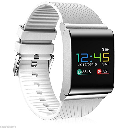 Q&M Smartwatch met bluetooth, 0,95 inch, OLED Color Screen Fitness Activity Tracker horloge voor mannen/vrouwen/adolescenten bloeddrukHR voor Samsung Android