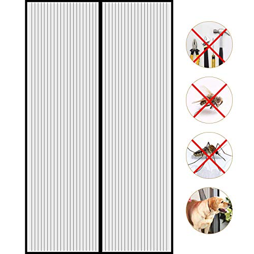 Puerta De Pantalla Magnética,Mosquitera magnética Puerta Bug Off Screen Door Anti Mosquito Bugs se Cierra automáticamente Se Adapta al tamaño de la Puerta hasta - Negro 180x230cm (71x91inch)