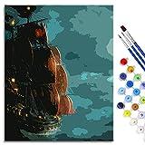 BOVIENCHE Pintura por números para Adultos y niños Kits de Regalo de Pintura al óleo de Bricolaje Piratas del Caribe Lienzo de Lino Acrílico 50x40cm Enmarcado Jack Sparrow