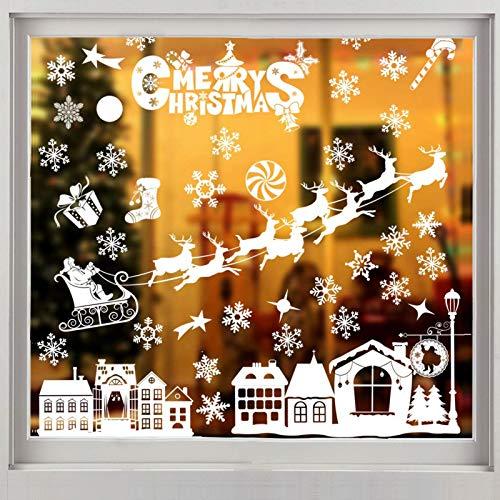 Weihnachten Fenstersticker, Fensteraufkleber PVC Fensterbilder Weihnachten Fensterdeko Fensteraufkleber Für Winter Fensterdeko Weihnachtsdeko, Weihnachtsmann Sterne Weihnachts Rentier (814)
