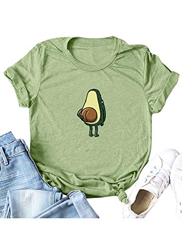 Romacci Damen Plus größe T-Shirt Cartoon Avocado Muster Drucken Rundhals Kurzarm Niedlich Tops
