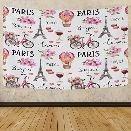 MOYYO Tapiz Colgante de pared París Torre Eiffel Primavera Bicicleta Flores Tapiz Tapiz de poliéster Arte de pared brillante Manta de pared Decoración de pared para dormitorio Sala de estar Dormitorio