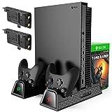[4 en 1] Ventilateur de Refroidissement KINGTOP Support Vertical avec 2 Batteries de 600mAh Stockage de Jeux Station de Chargeur à Console et Manettes pour Xbox One, One S, One X, Xbox Elite Noir