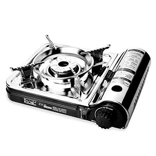 Gaskocher Campingkocher Mini Edelstahl tragbarer Turbo Ultra Slim Gaskocher RS-7000DFS Koffer