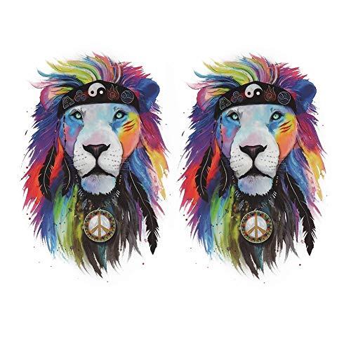 Pegatina Decotatioin súper elástica de Moda, Pegatinas de Transferencia de Calor, Camisetas de Nivel Lavable de patrón Completo para empaquetar(No. 5 Gossip Lion)