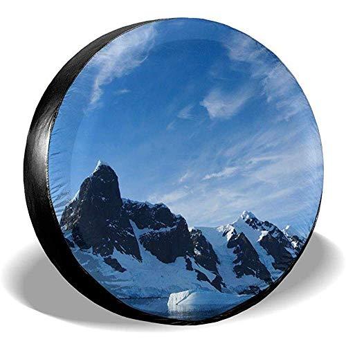 LAURE Tire Cover Spare Antarctica Snowy Mountain Polyster Universal-Sonnenschutz-Radabdeckungen Reifenabdeckung