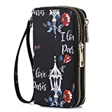 HAWEE Double Zipper Wallet for Woman Clutch Purse with Wrist Strap for Cell Phone/Card/Coin/Cash, Love Paris
