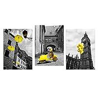 北欧スタイルの白黒ポスターとプリント黄色のオートバイバルーン傘キャンバスアート絵画リビングルームの壁画(60x80cm)x3 フレームなし