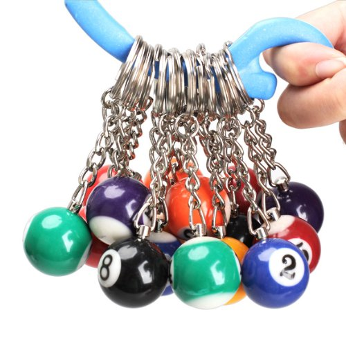 Wildlead 16 Stück Billiard Pool Schlüsselanhänger Snooker Ball Key Ring Geschenk
