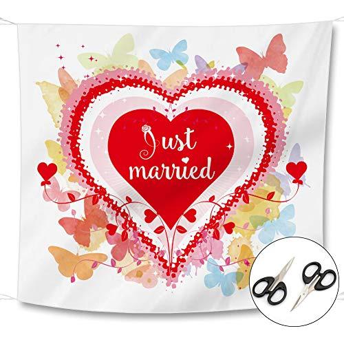 YIKANWEN Hochzeitsherz zum Ausschneiden und 2 Scheren - Just Married Hochzeitslaken - Spiel für das Brautpaar - Hochzeitsgeschenk