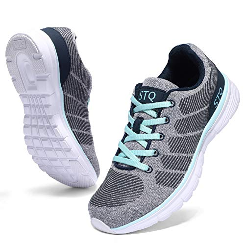 STQ Road Running Shoes for Women Breathable Walking Tennis Shoes Comfortable Mesh Fashion Sneakers Grey Teal 9