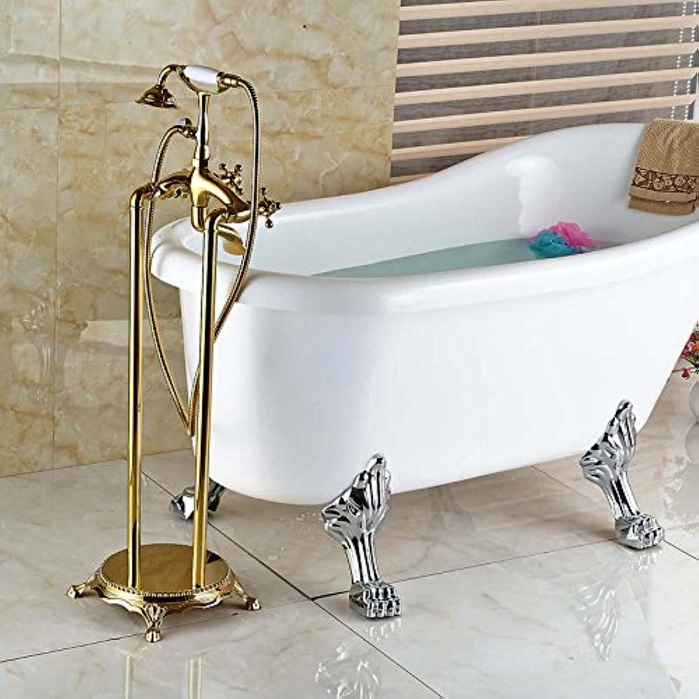 NEUE Goldene Telefon Stil Freistehende Bodenmontage Badewanne Wasserhahn Set Doppelgriffe mit Handbrause Wannenfüller, Multi