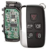 ProPlip - Llave completa con programación electrónica compatible con Jaguar f-Pace Land Rover LR4 descubrimiento Range Rover Sport Evoque 5 botones PCF7953 433 MHz Mando a distancia en blanco