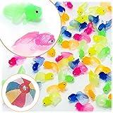 縁日すくい やわらか ミニ金魚(約40mm) 100個入り / お楽しみグッズ(紙風船)付きセット