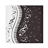 TropicalLife HaJie Tovaglioli per pianoforte e note musicali, tovagliolo di carta satinata, in poliestere, riutilizzabili, per tavolo e bambini, 50,8 x 50,8 cm, 6 pezzi
