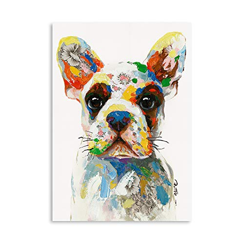 B BLINGBLING Funny Dog Wall Art Wall Pictures: Shepherd Dog with Colorful Dots Teen Room Decor Aesthetic Large Wall Art Canvas Pictures for Wall Ready to Hang (12'x16'x1 Panel)