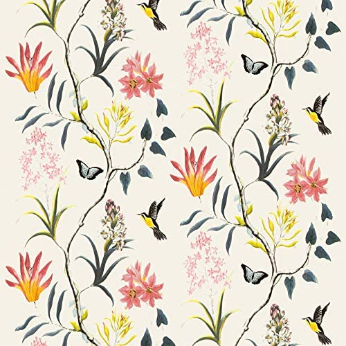 Beige Floral Peel and Stick Wallpaper Vintage Off White Flower and Bird Wallpaper Decorative product image