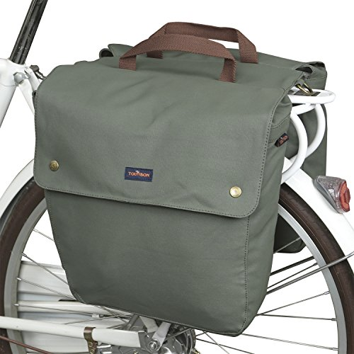 TOURBON Waterproof Canvas Bicycle Bike Rear Seat Carrier Luggage...