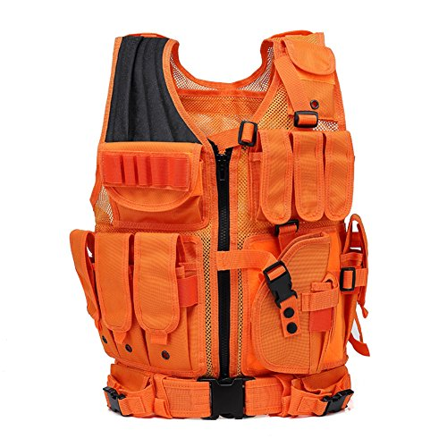 GNNFIC Hunting Vest Bright Orange Tactical Vest Adults Molle Airsoft Paintball Vest with Durable Mesh Detachable Belt and Holster for Outdoor Activity Hunting and Combat Training