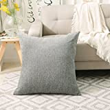 Home Brilliant Decor Supersoft Striped Velvet Chenille Decorative Euro Sham Pillowcase Throw Pillow Cushion Cover for Couch, (66x66 cm, 26inch), Light Grey
