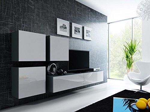 Wohnwand ' Vigo 23' Hochglanz Hängeschrank Lowboard Cube , Farbe:Grau . Weiß