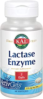 KAL Lactase Enzyme 250 mg | Healthy Digestion Support for Lactose Intolerance | Liquid-Filled ActivGels | 60ct, 30 Serv.