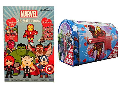 Avengers Valentine Cards (Box of 32 With Stickers) and Avengers Mailbox Bundle