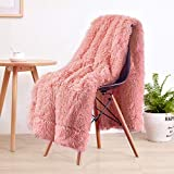 LOCHAS Super Soft Shaggy Faux Fur Blanket, Plush Fuzzy Bed Throw Decorative Washable Cozy Sherpa Fluffy Blankets for Couch Chair Sofa (Peach 50' x 60')