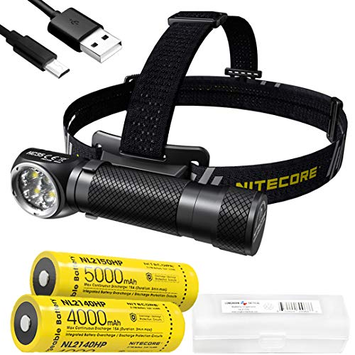 NITECORE HC35 2700 Lumen USB Rechargeable 21700 L-Shape Detachable Headlamp Flashlight with Extrap 5000mAh High Performance Battery and LumenTac Battery Case