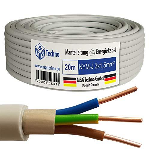 M&G Techno 20m NYM-J 3x1,5 mm² Mantelleitung Elektro Strom Kabel Kupfer eindrähtig Hergestellt in Deutschland