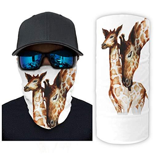 CCMugshop Bandanas para la cara con acuarela, diseo de jirafa, madre y nio, color blanco, talla nica
