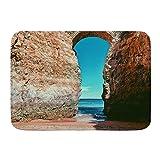 Yhouqukhdeueh Alfombrillas para baño, Pared Algarve Paisaje Hito Playa Lagos Portugal Castillo Gran Cielo Parques Naturales Entrada Exterior,con Respaldo Antideslizante,29.5'X17.5'