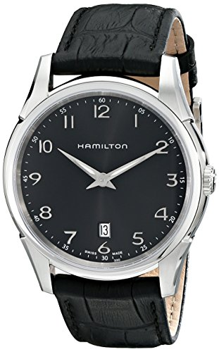 "Hamilton Men's H38511733 ""Jazzmaster"" Stainless Steel Watch with Black Leather Band"